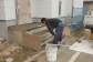 玄関土間のタイル貼り工事です。